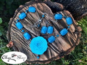 Set bijuterii handmade unicat trandafir si pietre