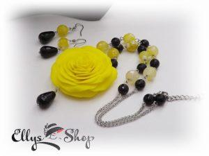 Set bijuterii handmade unicat trandafir galben si pietre semipretioase agate si onix