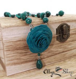 Set bijuterii unicat trandafir si pietre semipretioase malachit