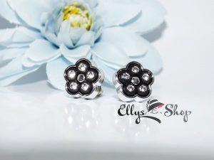 Cercei flori negre cu strasuri transparente