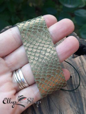Bratara dama lata din piele naturala imitatie piele de sarpe kaki bronz