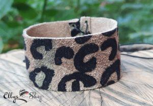 Bratara dama lata din piele naturala imprimeu leopard