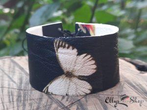 Bratara dama lata din piele neagra cu imprimeu fluture