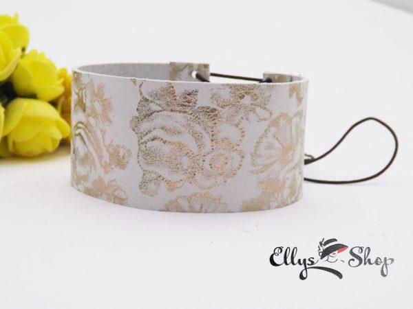 Bratara lata din piele naturala alba si model cu flori aurii