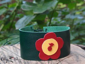 Bratara lata piele naturala verde cu floare rosie si cheia sol