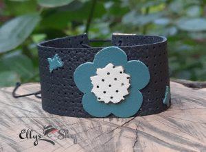 Bratara lata piele naturala neagra cu floare turcoaz si crem