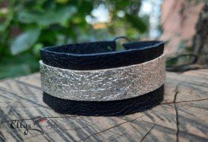 Bratara piele naturala neagra si argintie lata
