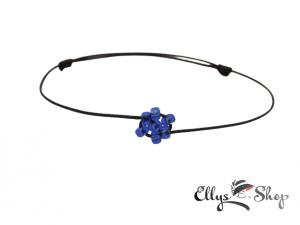 Bratara snur negru si floare din margelute albastre