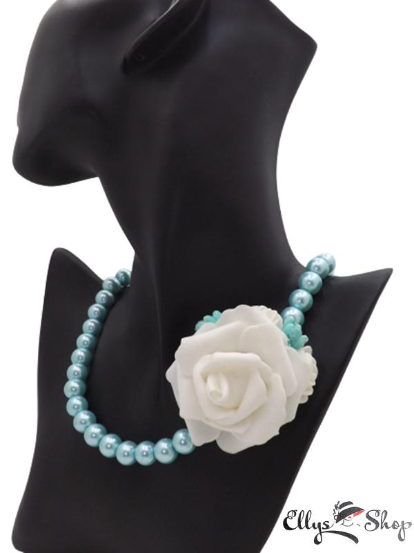 Colier handmade perle de sticla turcoaz si trandafir detaliu