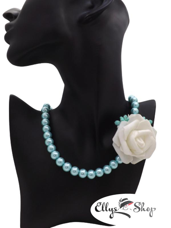 Colier handmade perle de sticla turcoaz si trandafir
