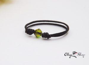 Inel reglabil snur negru si cristal swarovski verde padure
