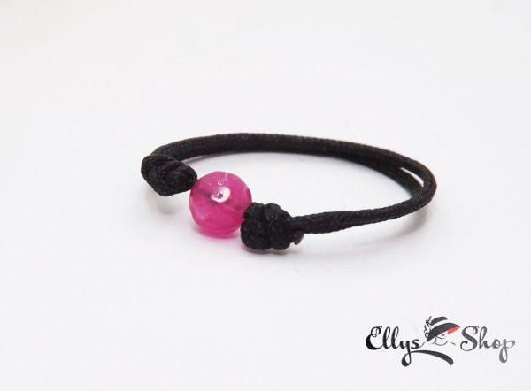 Inel reglabil snur negru si jad fatetat roz