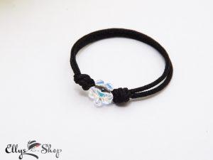Inel snur negru reglabil cu cristal swarovski floare