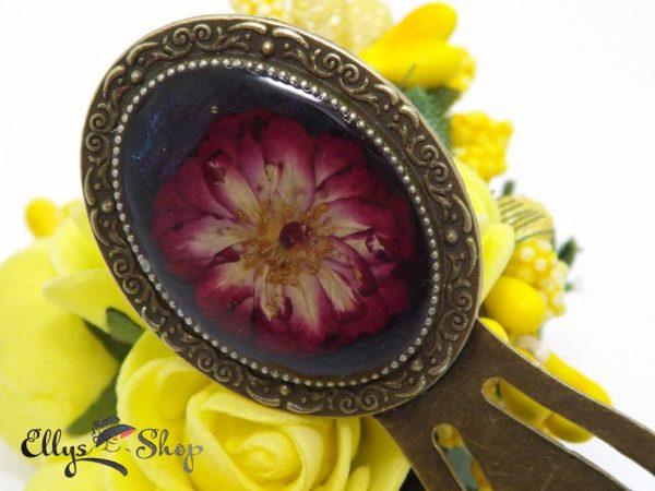 Semn de carte handmade cu trandafir natural in rasina