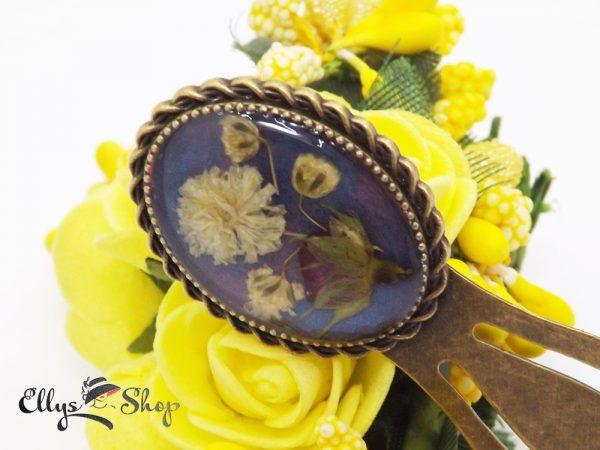 Semn de carte handmade unicat flori naturale trandafir si flori albe