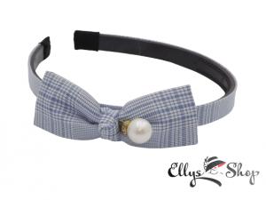 Bentita cu funda si perla material textil carouri bleu - alb