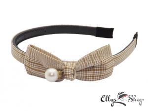 Bentita cu funda si perla material textil carouri maro - alb