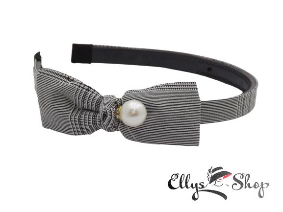 Bentita cu funda si perla material textil carouri gri-negru- alb