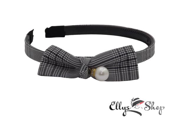 Bentita cu funda si perla material textil carouri negru-alb