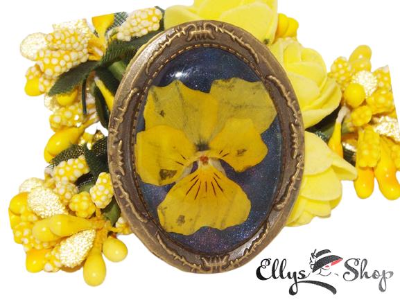 Brosa unicat floare presata panseluta galbena