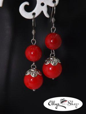 Cercei handmade rosii cu pietre semipretioase scoica