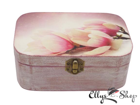 Cufar bijuterii handmade decorat magnolie roz