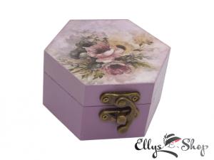 Cutiuta mov pentru bijuterii decorata model vintage flori