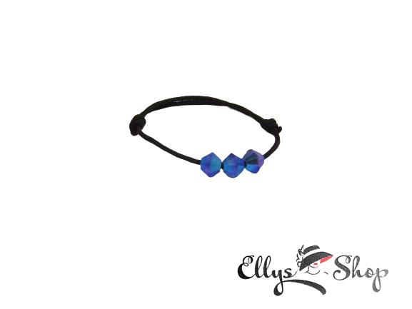 Inel snur si cristale swarovski albastru majestic